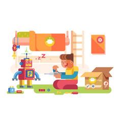 A boy control robot vector