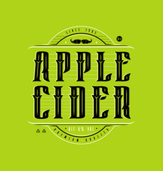 Apple cider logo in vintage style vector