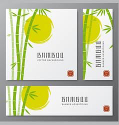 asian bambu threes cards or japanese bamboo vector image vector image