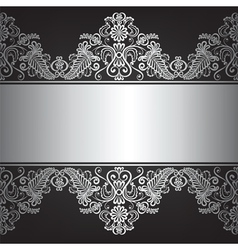 Black ackground with silver ornament vector image vector image