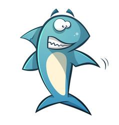 black line cartoon shark vector image
