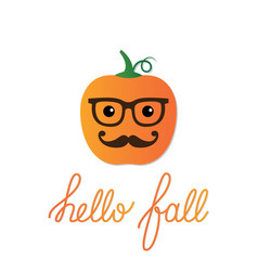 Card with a cartoon pumpkin vector