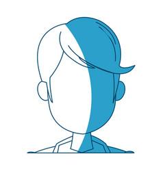 Cartoon head young man faceless silhouette vector