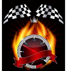 Checkered flag speedometer vector image