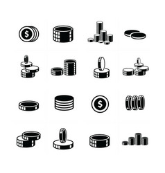 Coins icons set 3d style vector