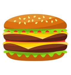 Colorful burger hamburger cheeseburger fast food vector