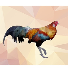 Colorful cock polygon walking on polygon backgroun vector