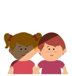 Cute kids couple icon vector