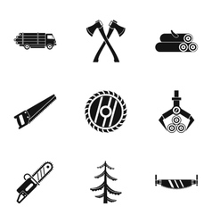 Cutting down trees icons set simple style vector