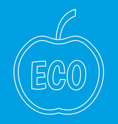 Eco apple icon outline style vector