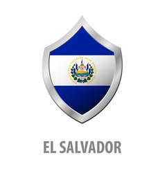 El salvador flag on metal shiny shield vector