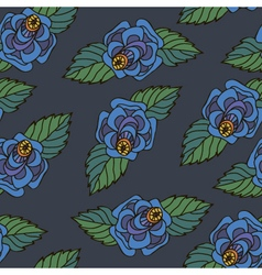 floral pattern seamless blue vector image