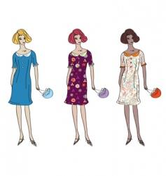 girls in dresses vector image vector image