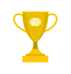 Gold winner cup icon flat style vector