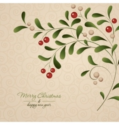 Green sprig with red berries isolated on vintage vector