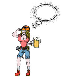 hard working woman with beer-100 vector image vector image