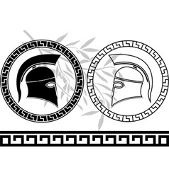 Hellenic helmets and olive branch vector
