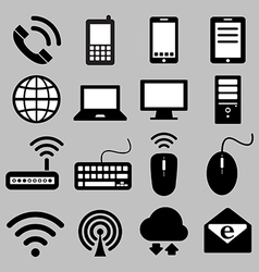 Icon set of mobile devices computer and network vector