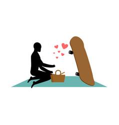 Lover skateboarding guy and skateboard on picnic vector