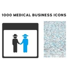 Men handshake calendar page icon with 1000 medical vector
