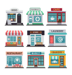 modern fast food restaurant and shop buildings vector image vector image