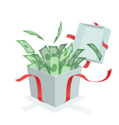 money coming out of the gift box vector image