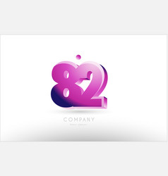 Number 82 black white pink logo icon design vector