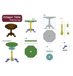 Octagon table vector
