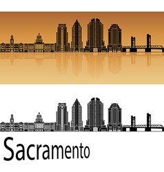 Sacramento V2 skyline in orange vector image