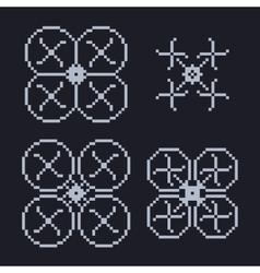 Simple set of pixel art style light blue vector
