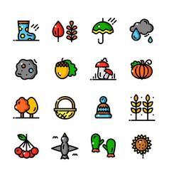 Thin line autumn icons set vector