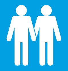 Two men gay icon white vector