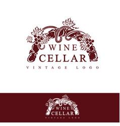 Wine cellar vintage logo design vector