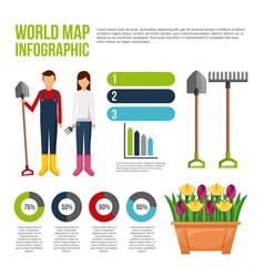 World map infografic gardeners people flowers vector