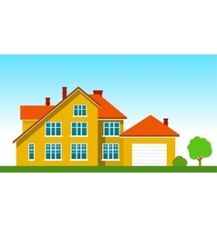 House with a garage on the grass vector image