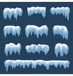 Set of isolated snow cap snowy elements on winter vector