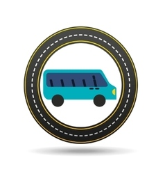 Blue bus circle road way design vector