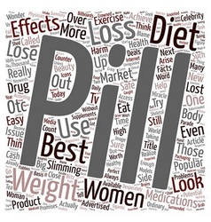 Diet pills weight loss or cash lost text vector