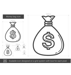 Money bag line icon vector