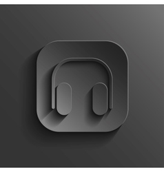 Headphones icon - black app button vector image