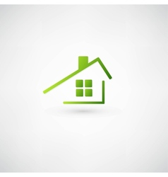 Green home icon on white background vector