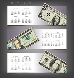 2017 calendar with three money banners vector image vector image