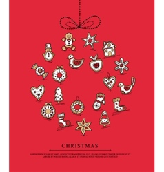 Red greeting card with christmas gingerbreads vector
