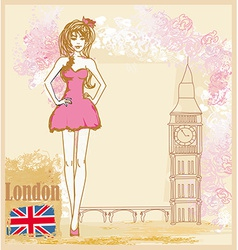 Beautiful woman in london card vector