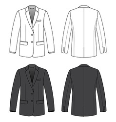 Front back and side views of blank blazer vector