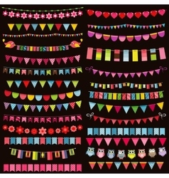 Colorful flags bunting and garland set on dark vector