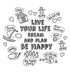 Happy greeting card dream and plan objects doodles vector