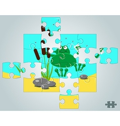 Puzzle a frog resting on holidays vector