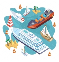 Isometric set ships sea transport vector