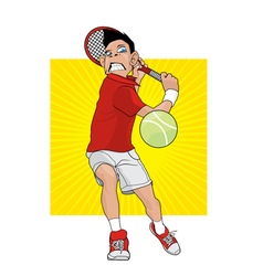 Mad tennis player vector